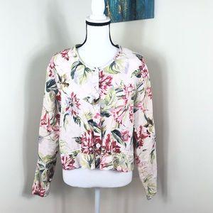 FLAX Linen Floral Button Up Blouse Medium